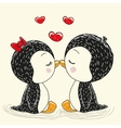 Two cute penguins vector image
