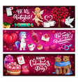valentines day banners with quotes vector image vector image