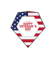 veteran day label with the flag of united states vector image vector image