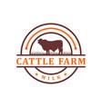 vintage cowhide circle logo design vector image vector image