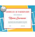 volleyball certificate award diploma sport winner vector image vector image