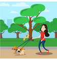 woman walking with two dog vector image vector image