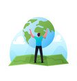 world in hands concept male character stand on vector image vector image