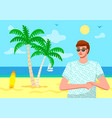 young guy wearing sunglasses t-shirt at beach vector image vector image