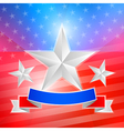 American flag with white stars and ribbon vector image
