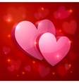 Realistic glossy hearts Valentines greeting card vector image