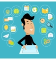 Man with tablet vector image