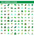 100 green icons set cartoon style vector image vector image