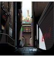 alley in morning vector image