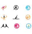 athletic yoga body logo symbols icons vector image