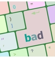 bad word on white button keyboard vector image vector image