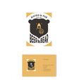 bear and beer logo hop cones pub business card vector image vector image