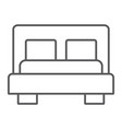 bed thin line icon furniture and hotel bedroom vector image vector image
