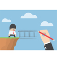 Big hand drawing a bridge for help businessman to vector image vector image