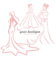 bridal wedding gown dress boutique logo design set vector image vector image