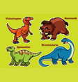 cartoon collection of dinosaurs vector image