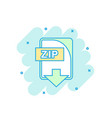 cartoon colored zip file icon in comic style zip vector image vector image