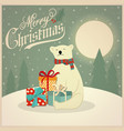 christmas card with polar bear and gift boxes vector image vector image
