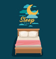 color poster scene night landscape of bed sleep vector image