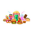 colorful elements fast food vector image