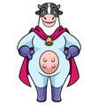 cow superhero mascot vector image vector image
