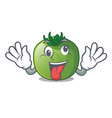 crazy green tomato in shape of mascot vector image vector image