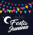 festa junina colorful flag moon black background v vector image vector image