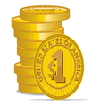Golden coins with dollar sign vector image vector image