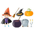 halloween theme with boy and witch costume vector image vector image