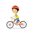 happy little boy in helmet riding bicycle vector image vector image