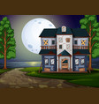 haunted house by the lake at night vector image vector image