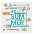 hello summer background with painted canoe paddle vector image vector image