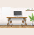 interior with wooden desk and computer vector image vector image