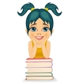 Little girl leaning on book stack vector image vector image
