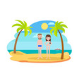 man and woman in swimsuits on the beach with palms vector image vector image