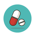 Medical pill flat icon Medication sign vector image