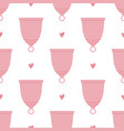 menstrual cups and hearts seamless pattern vector image vector image
