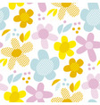 naive pastel color simple flowers seamless pattern vector image vector image