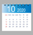 october 2020 monthly calendar template vector image vector image
