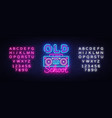 old school neon sign retro music design vector image