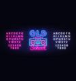 old school neon sign retro music design vector image vector image