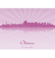 Ottawa skyline in purple radiant orchid vector image vector image