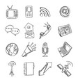 pencil drawn global communications icon set vector image vector image