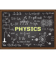 Physics elements on chalkboard vector image