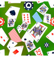 poker cards and casino chips on green background vector image vector image