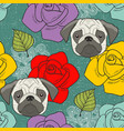 pugs and flowers seamless wallpaper vector image vector image