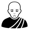 sad buddhist monk black icon vector image vector image