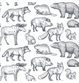 Seamless pattern with hand drawn animals of
