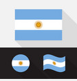 set argentina flag flat design vector image