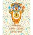 Stay clever Cute card with little fox vector image